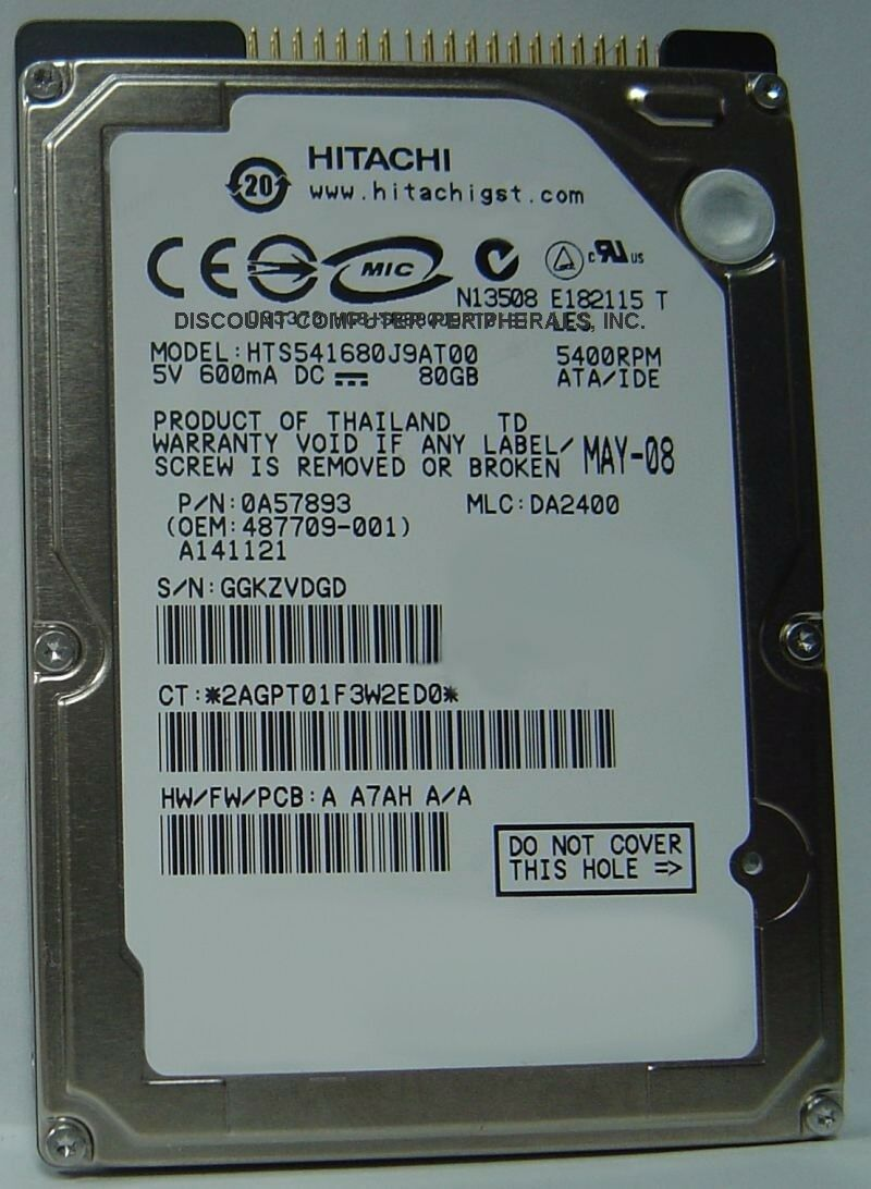"NEW 80GB 2.5"" 9.5mm IDE 44pin HDD HTS541680J9AT00 Hitachi Free USA Shipping"
