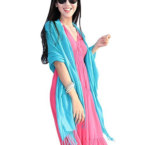Tassel Fringe Style Sun Protection Solid Infinity Pashmina Beach Scarf Blue