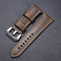 High Quality Vintage Crazy Horse Genuine Leather Watchband Red Blue Brown Watch  image 6