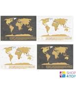 WORLD SCRATCH MAP SET TRAVEL TRACKER JOURNAL WALL POSTER NEW - $30.93+