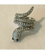 Snake Cocktail Ring One Size Silver Tone Crystal Accents Stretch Band Je... - $11.99
