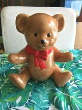 VINTAGE ROB ROY CERAMIC BROWN TEDDY BEAR BANK W BOW & STOPPER NOS - $9.99
