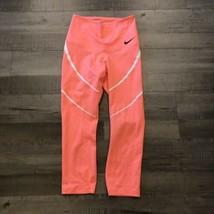 Nike Zonal Entraînement Force Capri COURTE S Corail Rose Leggings Jabot Pantalon - $36.02