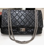 Auth Chanel Black 2.55 Reissue Quilted Age Calfskin 227 Jumbo Double Fla... - $2,899.99
