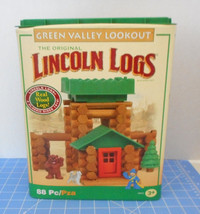 Lincoln Logs 76 Pcs & Container Green Valley Lookout missing figures, do... - $14.85