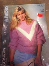 Vtg Patons Knitting Pattern Women's Sweater Fiesty Chunky 3118 - $7.79