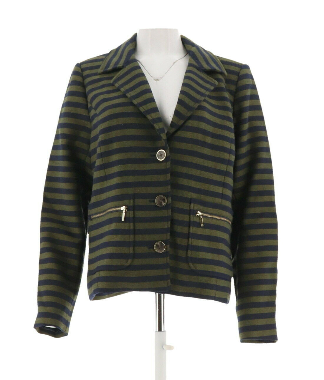Primary image for Isaac Mizrahi Striped Jacket Zipper GreenOlive Navy 18W NEW A266828