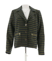 Isaac Mizrahi Striped Jacket Zipper GreenOlive Navy 18W NEW A266828 - $75.22