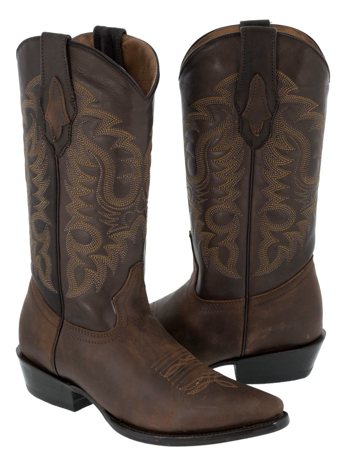 Mens Tan Leather Embroidered Design Boots Durable Vintage Western J - $139.99