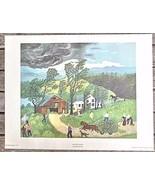 "Vintage Print Grandma Moses ""Thunderstorm"" Art in America USA 12 x 14 Image - $24.00"