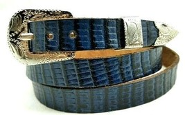Cobalt Blue Hatband Genuine Lizard Skin With Buckle Set Western Cowboy Hat Band - $19.29