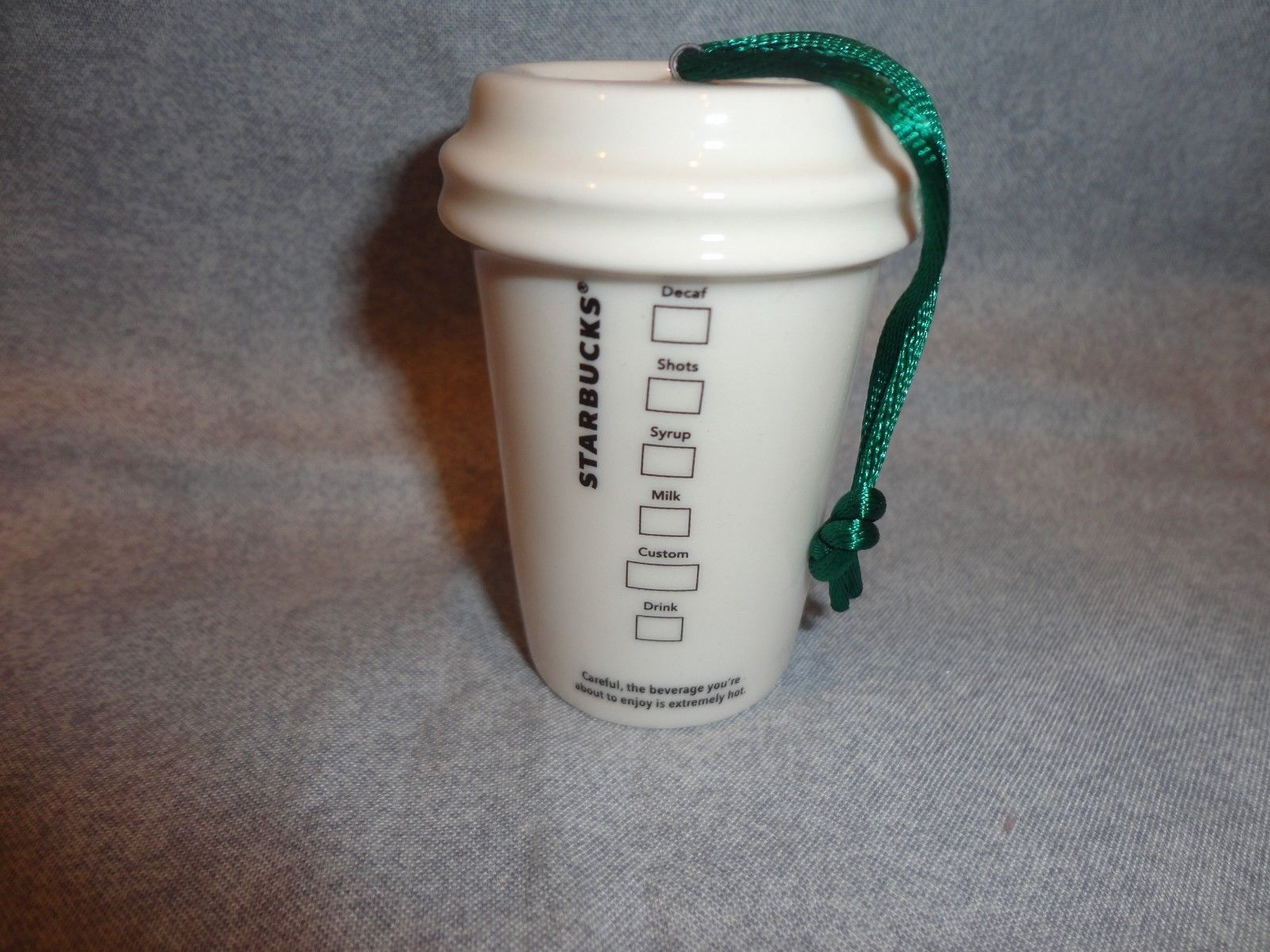 STARBUCKS 2011 GREEN AND WHITE TO GO CUP ORNAMENT CERAMIC NO PACKAGING