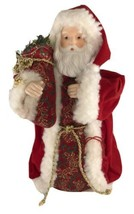 Santa Tree Topper, tabletop decor ,Vintage Ceramic Face and hands red ve... - $19.80