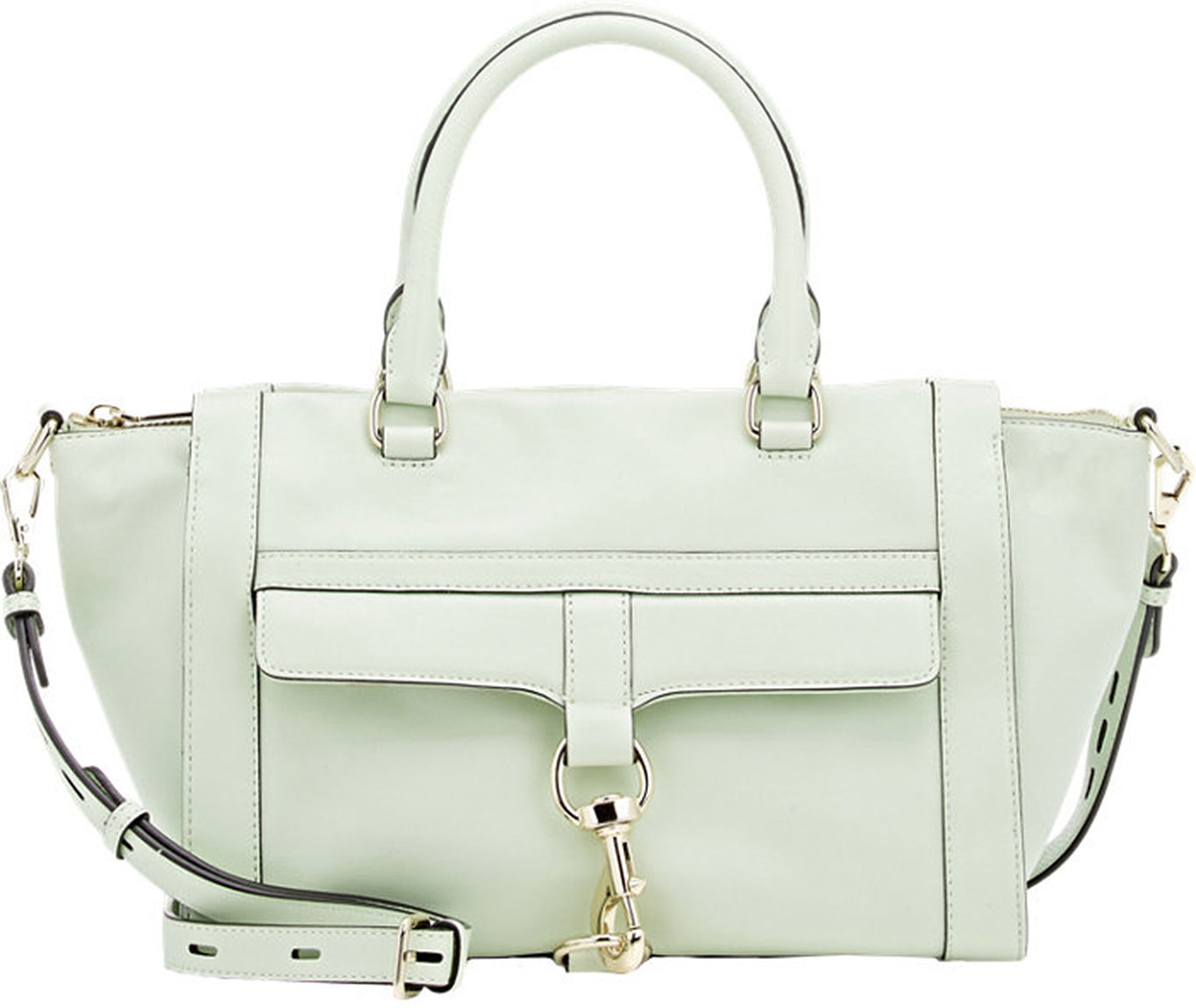 Primary image for Rebecca Minkoff Large Aloe Green Leather Bowery Satchel DEFECT! NWT