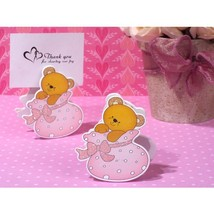 Playful Teddy Bear Place Card Holder in Pink Bootie - 60 Pieces - $54.95
