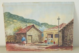 LATIN AMERICAN WATERCOLOR ON PAPER SIGNED BY THE ARTIST 1966 - $119.00