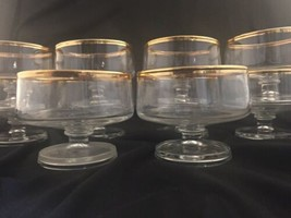 Set 10 Vtg Clear Footed Low Sherbet~Dessert Dishes Gold Rim & Trim Line ... - $64.35