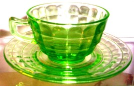 DEPRESSION GLASS--ANCHOR HOCKING BLOCK OPTIC CUP SAUCER - $10.95