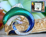 Vintage dolphin brooch pin attwood sawyer enamel rhinestones signed thumb155 crop