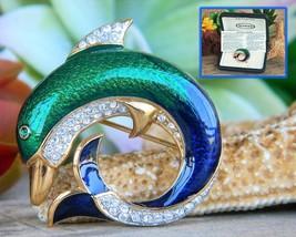 Vintage Dolphin Brooch Pin Attwood Sawyer Enamel Rhinestones Signed - $42.95