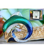 Vintage dolphin brooch pin attwood sawyer enamel rhinestones signed thumbtall