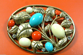 Gold Tone metal retro oval floral plant coral color blue white stone Pin... - $27.72