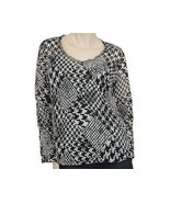 New Nordstrom Touche Houndstooth Black White Sheer Embroidered Print Top... - $23.52