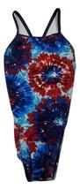 Speedo Women's Swimwear 10/36 Endurance+ One-Piece Swimsuit Blue Red White - $13.54