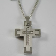 STAINLESS STEEL CROSS PENDANT, ZIRCONIA, GRUMETTE CHAIN, NECKLACE BY ZANCAN image 1