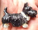 Black SCOTTY SCOTTISH TERRIER Dog Pin with Rhinestone Collar -Dimensional Design