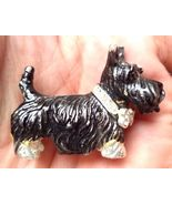 Black SCOTTY SCOTTISH TERRIER Dog Pin with Rhinestone Collar -Dimensiona... - $19.50