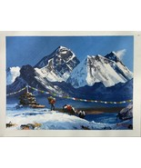 MOUNT EVEREST FROM GOKYO LAKE, ORIGINAL ACRYLIC PAINTING IN CANVAS  11 x... - $40.10