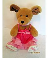 "Build A Bear GIRL PUPPY DOG Plush 16"" Brown w/ Pink Skechers, Sundress &... - $21.99"