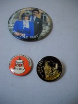 VINTAGE Set of 3 PINS 1 1981 DIANA AND PRINCE OF WHALES 1 AC/DC Bell 1 B... - $4.94