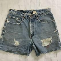 Vintage Levis 550 Shorts Cut Off Frayed Distressed Jean Denim High Waist 31 - $39.57