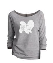 Thread Tank Shih Tzu Dog Silhouette Women's Slouchy 3/4 Sleeves Raglan Sweatshir - $24.99+