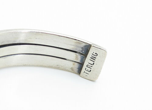 NAVAJO 925 Silver - Vintage Ribbed Design Shiny Smooth Cuff Bracelet - B6104 image 4