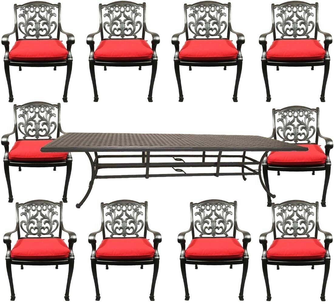 11 piece outdoor patio dining set Nassau cast aluminum 46 x 120 table Sunbrella