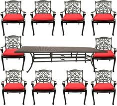 11 piece outdoor patio dining set Nassau cast aluminum 46 x 120 table Sunbrella image 1