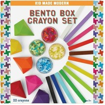 Kid Made Modern 23ct Bento Box Crayon Gems Sticks Discs Set NEW in Box