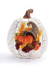 Thanksgiving Pumpkin w Cornucopia Design White Crackle Look Fall Autumn Resin