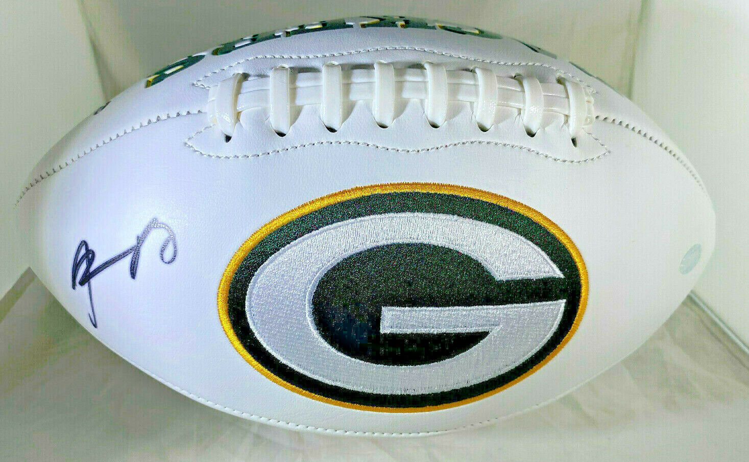 AARON RODGERS / AUTOGRAPHED INSCRIBED GREEN BAY PACKERS WHITE FOOTBALL / STEINER