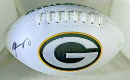 AARON RODGERS / AUTOGRAPHED INSCRIBED GREEN BAY PACKERS WHITE FOOTBALL / STEINER image 1