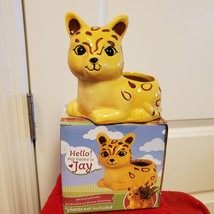 """Ceramic Animal Planter for succulents or small plants, 4"""" yellow cat, Jay Jaguar image 1"""
