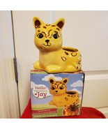 """Ceramic Animal Planter for succulents or small plants, 4"""" yellow cat, Jay Jaguar - $9.99"""