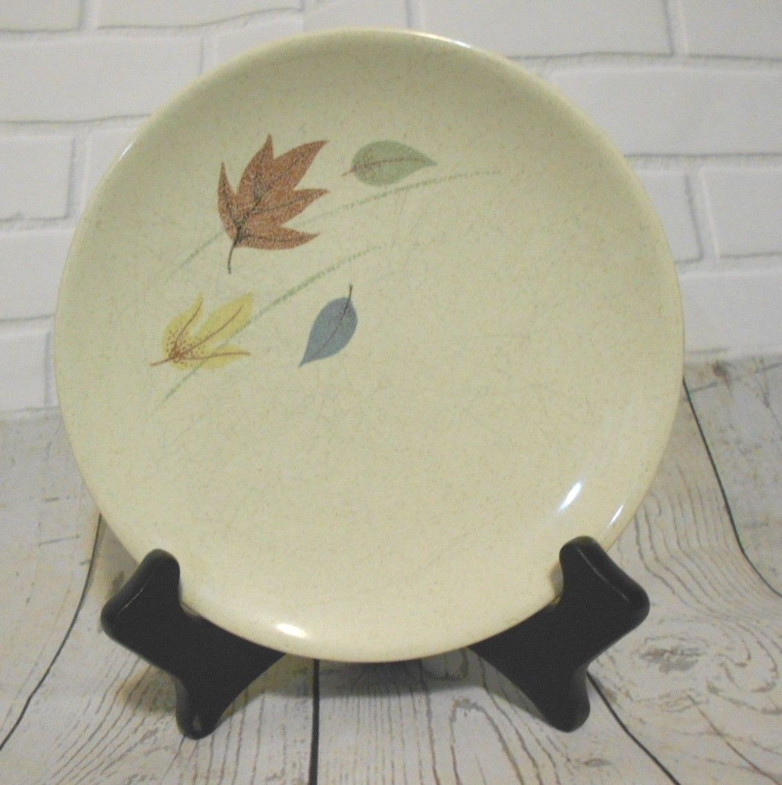 "Primary image for Vintage Franciscan Earthenware Autumn Leaves 6"" Bread Pie Dessert Plates  USA"