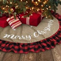 Burlap Christmas Tree Skirt 48 Inch, Large Tree Collar with Ruffled Buff... - $39.99