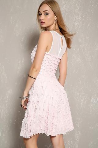 Sleeveless ruffle party pink dress