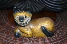 Vintage Wooden Hand Carved Cat Statue Figurine - $36.96
