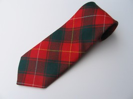 "Men's Wool Tie Macphie Pure Red Green Plaid Short 54.5"" Scotland House Ltd - $28.77"